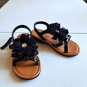 Girls Black Flower Sandals